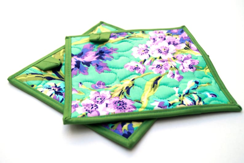 Set of Two Floral Pot Holders in Purple and Teal Quilted Fabric