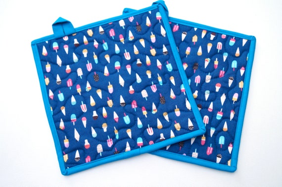 Quilted Pot Holders in Blue Ice Cream Fabric, Choice of One or Set of Two with Hanging Tab Option