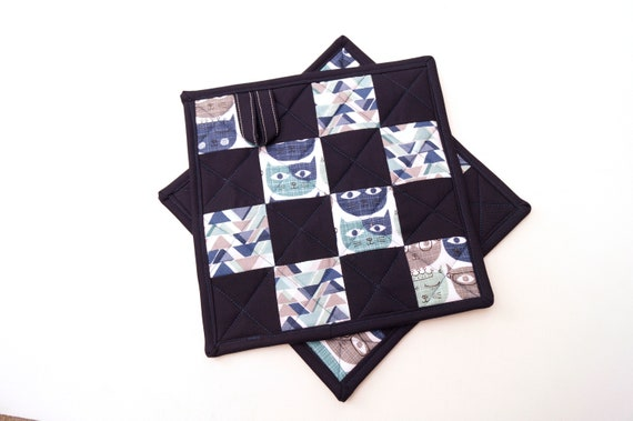Blue Cat Pot Holders in Fun and Modern Blue Quilted Fabric Patchwork, Set of Two