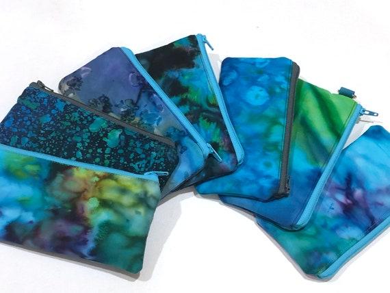 Padded Zipper Eyeglasses Case in Vibrant Blue Batik Fabric, Tropical Sunglasses Case
