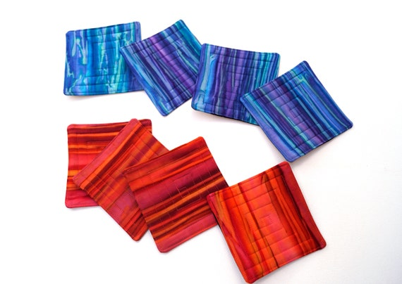 Batik Quilted Fabric Coasters in Shades of Red and Orange or Blue and Purple, Set of Four