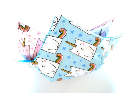 Caticorn Fabric Microwave Bowl Cozy, Soup or Ice Cream Bowl Holders in Pink or Blue