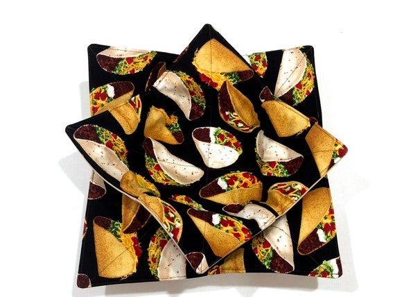 Taco Fabric Microwave Bowl Cozy in Regular or Large Size, Ice Cream or Soup Bowl Cozies
