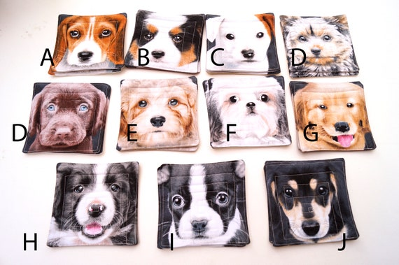 Quilted Dog Fabric Coasters Sets of Two, Choose from Photo!