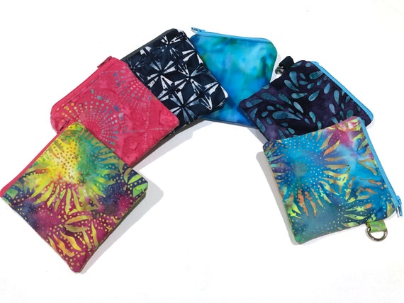 Small Zipper Pouch or Coin Purse with Colorful Cotton Batik Fabric Options