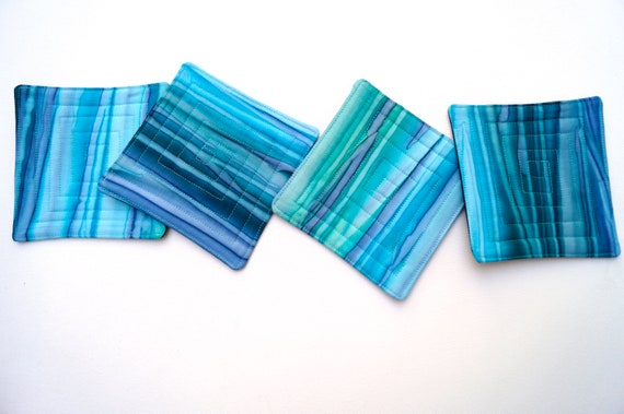 Quilted Batik Fabric Coasters in Shades of Blue, Hand Dyed Cloth Drink Ware, Set of Four