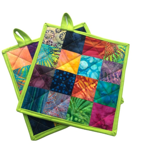 Quilted Batik Fabric Pot Holders Set with Colorful Patchwork