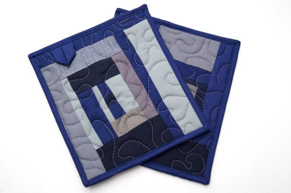 Modern Pot Holders in Abstract Quilted Patchwork, Blue and Grey Monochrome Hot Pads, Set of Two