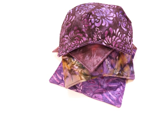 Batik Fabric Microwave Bowl Cozy with Purple Pattern Options, Soup or Ice Cream Bowl Holders