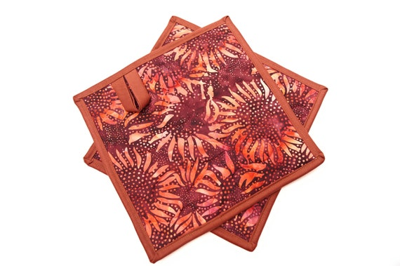 Quilted Batik Fabric Pot Holders with Vibrant Sunflower Pattern, Choice of One or Set of Two with Hanging Tab Option