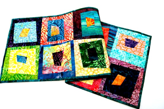 Quilted Batik Fabric Patchwork Table Runner or Wall Hanging with Colorful, Tropical Patterns