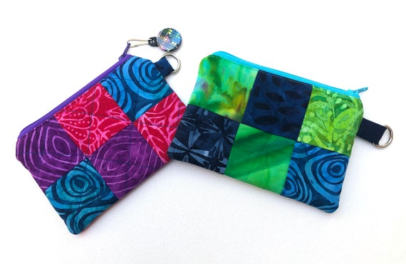 Batik Fabric Patchwork Padded Zipper Pouch in Pink and Blue or Green and Blue