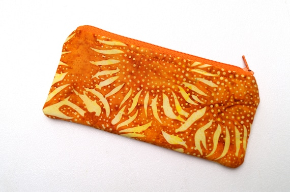 Padded Glasses Case, Small Cosmetic Pouch, Zippered Sunglasses Holder in Orange and Yellow Sunflower Batik Fabric