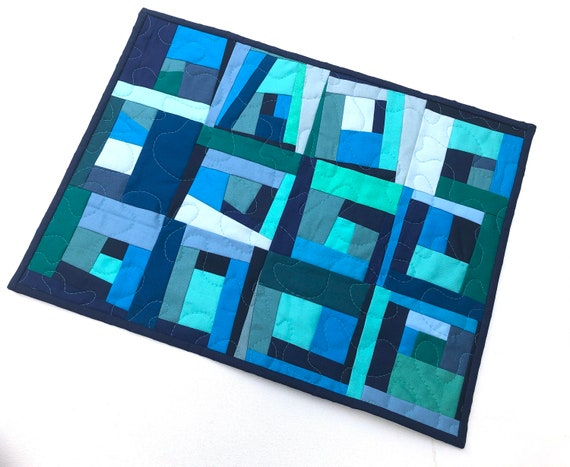 Quilted Fabric Place Mat, Wall Hanging or Table Topper in Shades of Blue and Green Abstract Patchwork