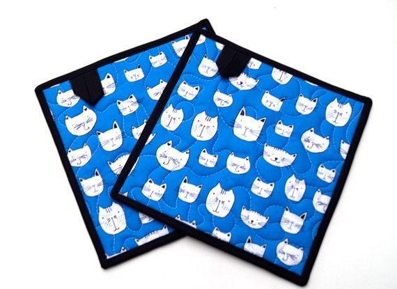 Quilted Pot Holders in Blue with Black and White Cats, Kitty Hot Pads, Your Choice of One or Two with Hanging Tab Option