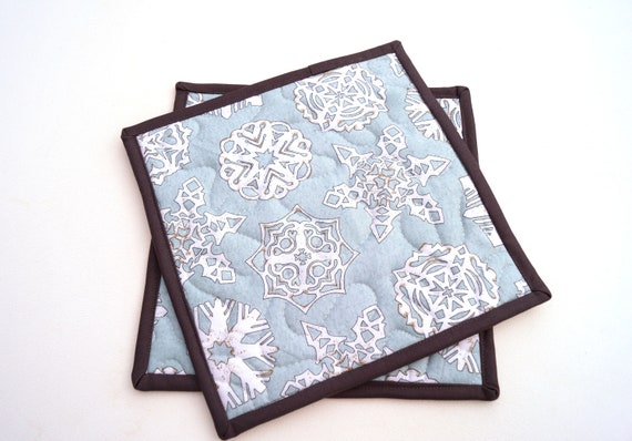 Snowflake Print Quilted Fabric Pot Holders in Light Blue, Choice of One or Two with Hanging Tab Option