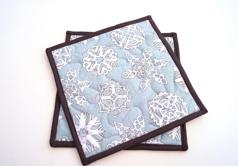 Snowflake Print Quilted Fabric Pot Holders in Light Blue Choice of One or Two with Hanging Tab Option