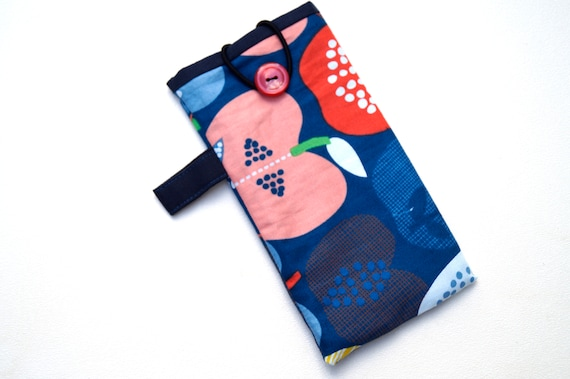 Modern Glasses Case with Apple Print Fabric, Colorful Sunglasses Pouch