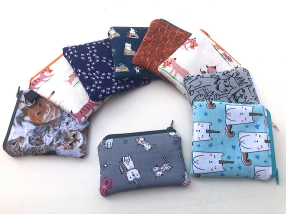 Novelty Mini Zipper Pouch with Your Choice of Padded Fabric Pattern with Cats, Ice Cream Cones and Other Animals