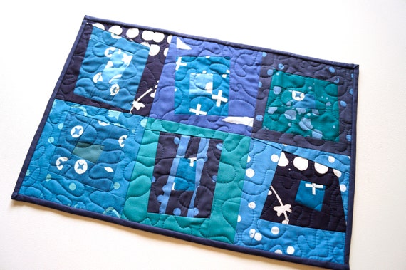 Quilted Fabric Place Mat with Modern Patchwork in Shades of Blue