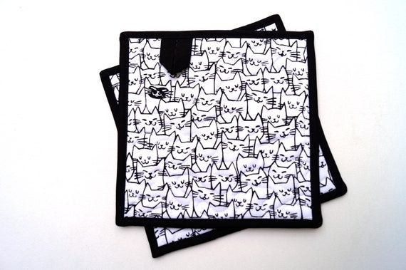 Cat Faces Quilted Fabric Pot Holders, Kitty Cloth Hot Pads, Choice of One or Set of Two