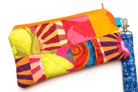 Colorful Fabric Patchwork Padded Zipper Pouch, Vibrant Floral Cloth Clutch Bag