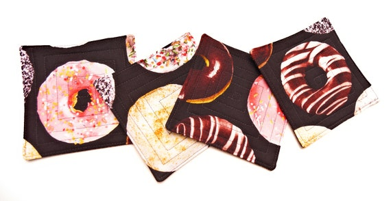 Donut Fabric Coasters Set of Four, Quilted Food Theme Drink Ware