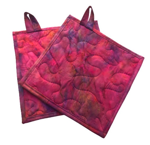 Quilted Pot Holders with Pink Hand Dyed Batik Fabric, Choice of One or Set of Two with Hanging Tab Option