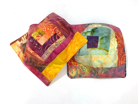 Batik Fabric Microwave Bowl Cozy with Tropical Patchwork, Soup or Ice Cream Bowl Holders