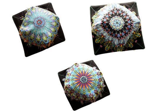 Colorful Medallion Fabric Microwave Bowl Cozy, Soup or Ice Cream Bowl Holder