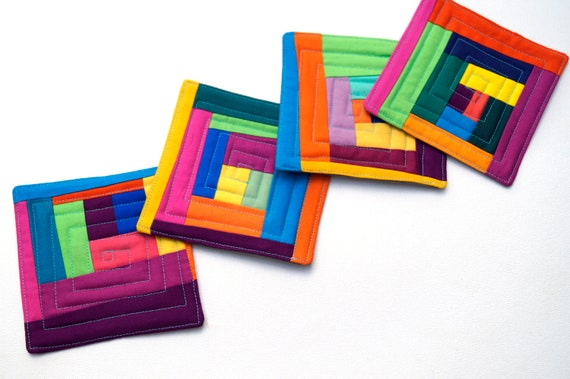 Quilted Fabric Coasters with Colorful Patchwork, Modern Abstract Drink Ware, Set of Four