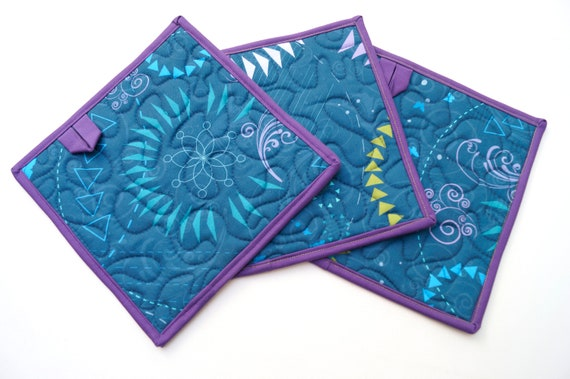 Blue Quilted Fabric Pot Holders with Modern Pattern, Set of Two, with or without hanging tabs