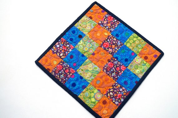 Quilted Patchwork Table Topper or Mini Quilt in Bright and Colorful Fabrics !Storm Sale Price Reduced!
