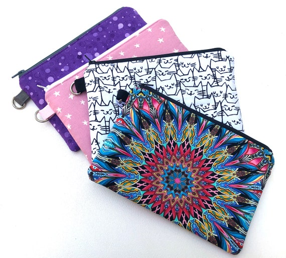 Padded Fabric Zipper Pouch with Medallion, Stars, Circles or Cat Pattern