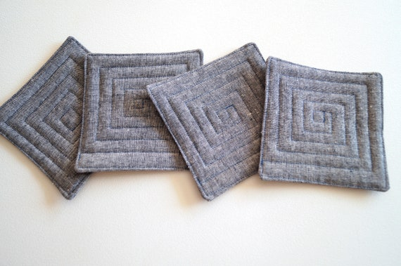 Denim Blue Linen Fabric Quilted Coasters, Set of Four