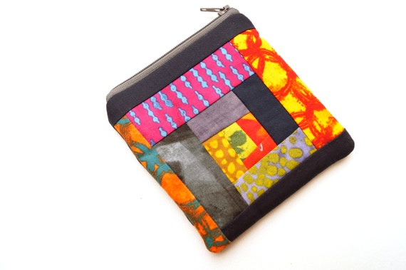 Padded Zipper Pouch with Colorful Abstract Patchwork, Modern Cloth Coin Purse