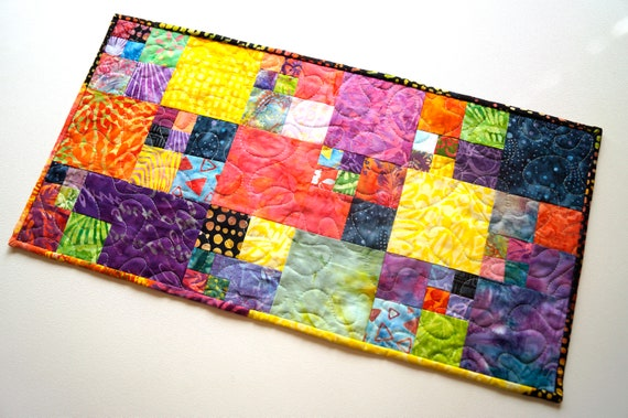 Vibrant Quilted Table Runner with Colorful, Tropical Batik Fabric Patchwork