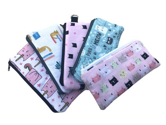 Cat Fabric Zipper Pouch or Padded Glasses Case in Variety of Prints