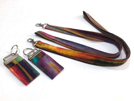 Colorful Lanyard and Chap Stick Holder Key Chain Options in Hand Dyed Batik fabric