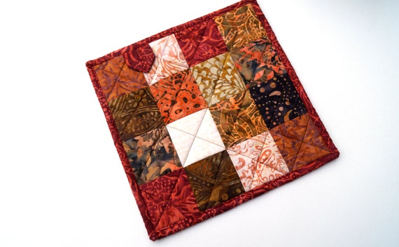 Fall Color Pot Holder with Quilted Batik Fabric Patchwork