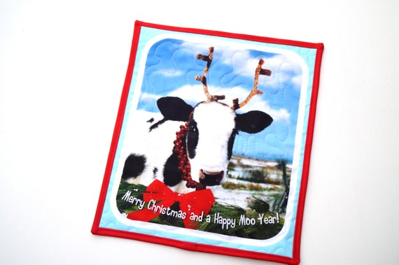 Cow Wall Hanging with the quote Merry Christmas and a Happy Moo Year!, Holiday Farm Animal Mini Quilt