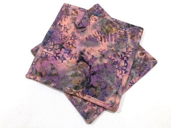 Floral Batik Quilted Fabric Pot Holders in Shades of Pink and Purple, Choice of One or Set of Two with Hanging Tab Option