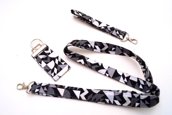 Modern Fabric Lanyard, Wristlet Key Chain, Chap Stick Holder, Your Choice of One or All Three