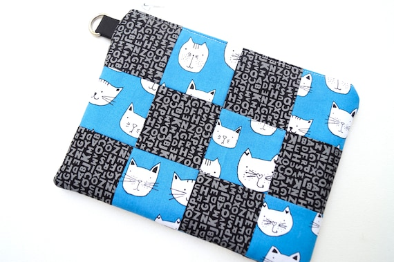 Cat Fabric Wristlet Bag, Modern Kitten Patchwork Cloth Clutch