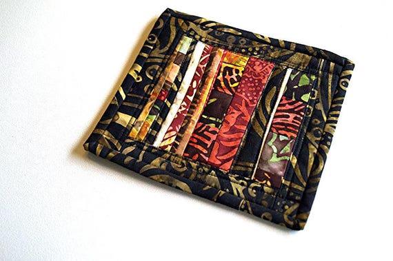 Fall Colors Batik Mini Quilt in Colorful Abstract Patchwork