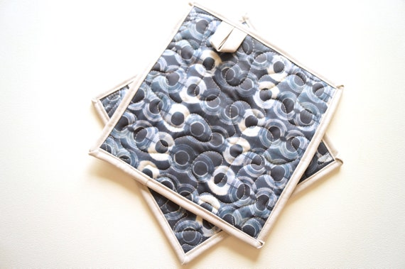 Quilted Fabric Pot Holders with Indigo Blue Shibori Circle Print, Choice of One or Set of Two with Hanging Tab Option