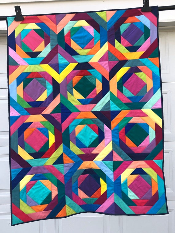 Rainbow Pineapple Lap Quilt, Colorful Modern Wall Hanging