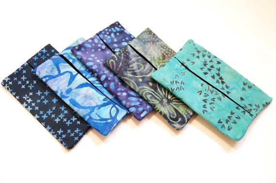 Travel Tissue Holder with Batik Fabrics in Shades of Blue, Pocket Size Tissue Cover in Your Choice of Tropical Print