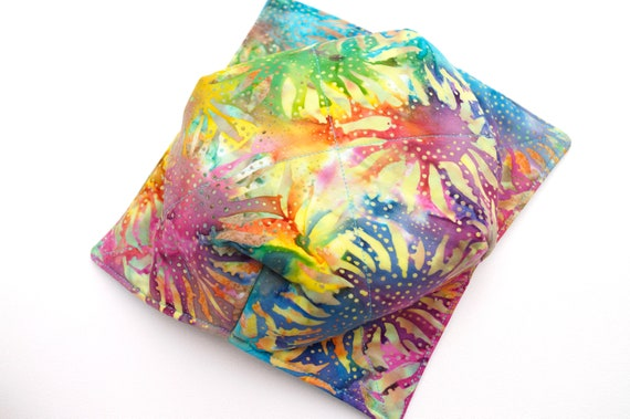 Microwave Bowl Cozy with Hand Dyed Batik Fabric in Colorful Sunflower Pattern