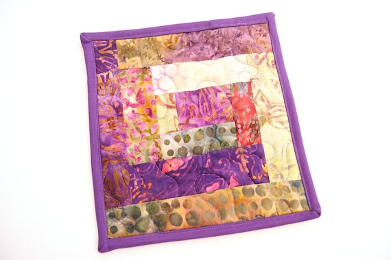 Quilted Pot Holder in Vibrant Patchwork, Purple and Green Batik Fabric Hot Pad